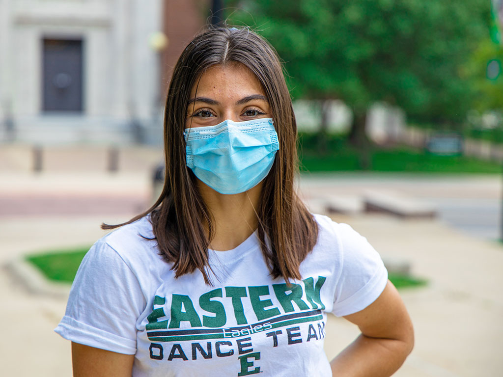 EMU student with a mask.